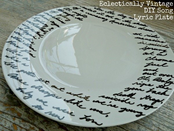 First and foremost this craft (which requires nothing more than painter\u0027s tape white ceramic plates and a paint marker specially created for ceramics) is ... & POUR SOME SUGAR ON ME: A DIY Music Lyric Plate That You Can Slop ...