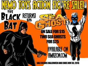 Nemoverse's Sea Ghost and Pulp Hero, Black Bat Retro Action Figures Now Available!
